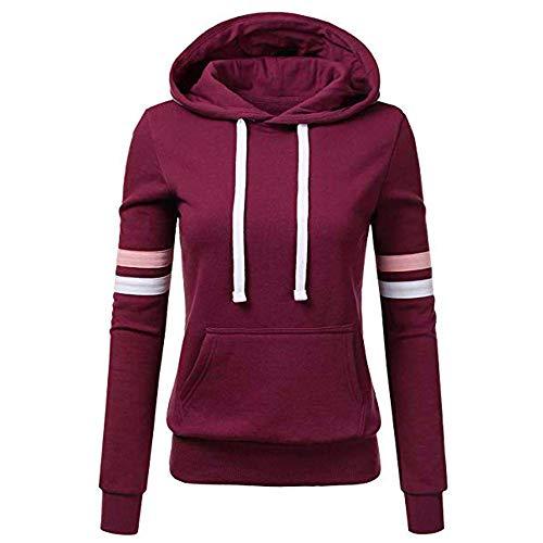Sweatshirt mit Kapuze Frauen Streifen Langarm Bluse Tasche Pullover Tops Shirt (S,4- Lila)