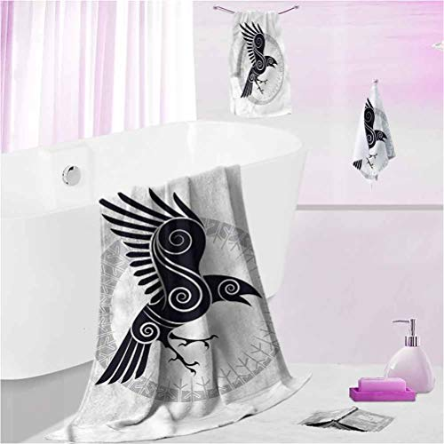 DayDayFun Beach Towel Raven Quick-Dry Bath Towel Set Abstract Celtic Style Rune S - Contain 1 Bath Towel 1 Hand Towel 1 Washcloth
