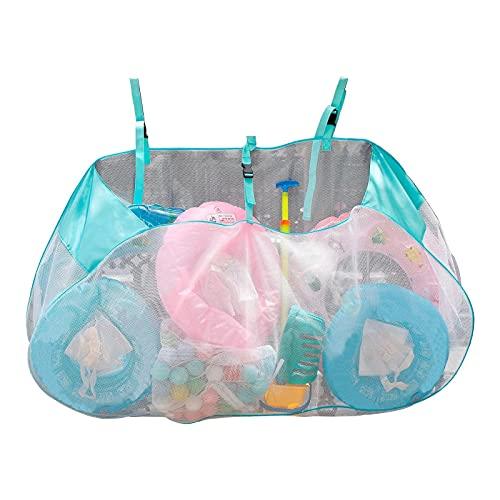 HUSHUI Strandtasche, Strandtasche, Pool-Aufbewahrungstasche mit großer Kapazität, zusammenklappbarer Schwimmbecken-Aufbewahrungsbeutel zum Aufhängen von Mesh-Organizer für Indoor Outdoor