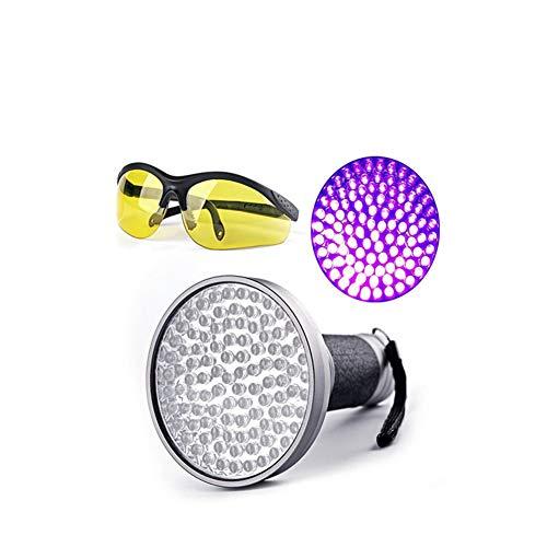 Xfc Black Light Flashlight,100 LED Aluminum Alloy Flashlight Counterfeit Lamp Best Pet Dog Cat Urine Detector Light Flashlight with Goggle