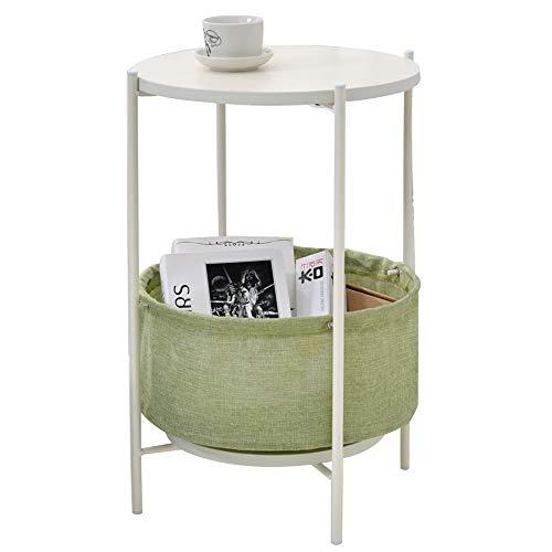 Eenvoudige zijkant/hoek/kleine salontafel/woonkamer ronde smeedijzeren telefoon/bank zijkast zijtafel, klein appartement dubbele plaat rond ontwerp, wit