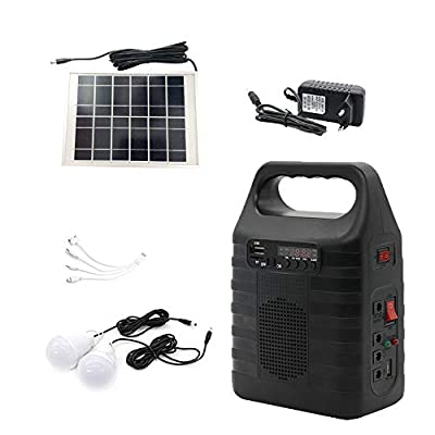 soyond Solar Generator Portable Lighting System for Emergency Power Supply, Home & Outdoor Camping,Including MP3&FM Radio, Solar Panel, 3 Sets LED Lights, Black