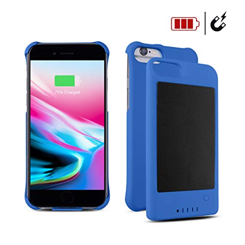 Adam iPhone 6/7/8 Protective Case/Extended Battery Solar Powered Detachable Ultra-Slim Magnetic External Battery with Ultra-Fast Charging Port and Finger Ring/Stand Attached (Blue)