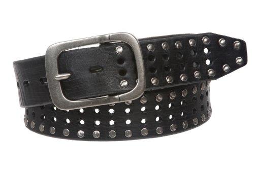 """1 1/2"""" (38 mm) Snap on Vintage piel de vaca Metal círculo tachonado cinturón de cuero - Negro - 81,28 cm (Ropa)"""