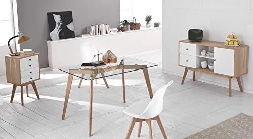 Design Twist Tommy Set di 4 Sedie, Legno, Bianco, 52 x 48.5 x 82 cm