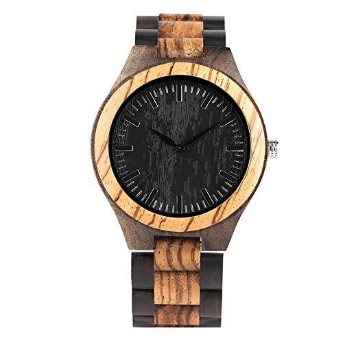 JLySHOP - Orologio da polso da uomo, in legno, fatto a mano, con zebra e legno di sandalo nero