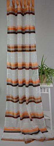 Homing Schlaufenschal Voile Fertigvorhang Store Gardine Querstreifen 140 x 245 cm Weiß/Braun/Terrakotta
