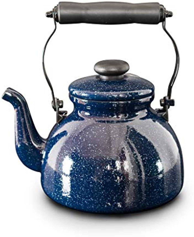 Wasserkessel Blauer Emaille-Kessel-2L Induktions-Kocher-Gas-allgemeiner kreativer sternenartiger Porzellan-Kessel KKY