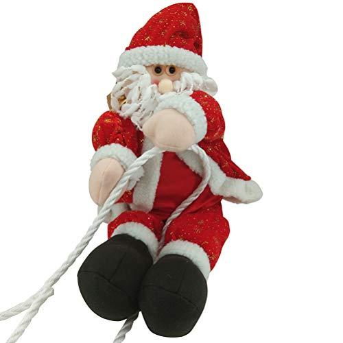 BESTOYARD Adorno de Navidad para colgar, diseño de Papá Noel, escalada en cuerda, decoración para interiores y exteriores, ventana, árbol de Navidad, 30 cm