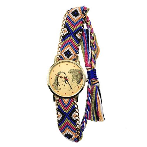 Pareja Reloj con Foto Grabado Correa Trenzada Ajustable Personalizado con Foto Regalo Cumpleaños Graduación Día del Padre Recuerdo para Hombres Mujeres (Estilo-1)