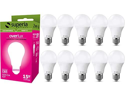 Superia Lampadina LED E27 Goccia, 15W (Equivalenti 85W), Luce Naturale 4000K, 1600 lumen, OP15N, Pacco da 10