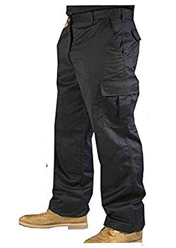 Mens Cargo Combat Work Black Navy Trousers Sizes 28'- 50' with knee pad pockets-TS2 (44' SHORT, Black)