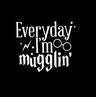 Everyday I'm Mugglin Harry Potter Decal Vinyl Sticker|Cars Trucks Vans Walls Laptop| WHITE |5.5 x 4.75 in|CCI556
