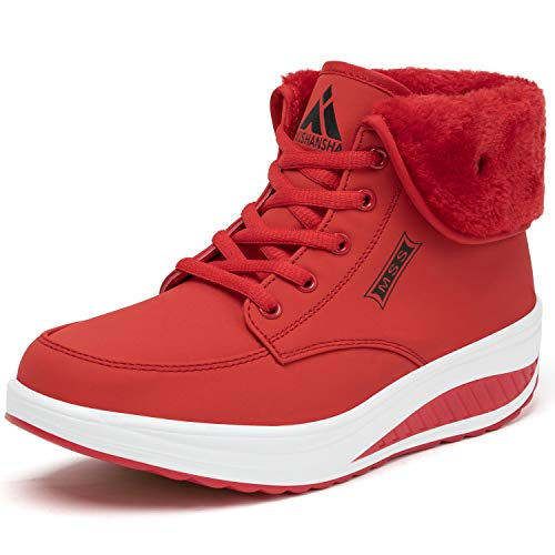 SAGUARO Botas de Invierno Mujer Forro Cálido Botas para la Nieve Impermeables Botines Plataforma Botas Apreski con Cordones, Rojo 42