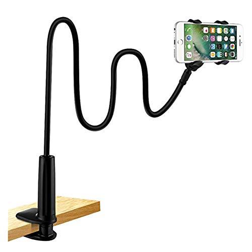 Soporte universal para teléfono, abrazadera de cuello de cisne flexible y perezoso, soporte de brazos largos para iPhone 8/7/6S, soporte para teléfono móvil, escritorio, color negro