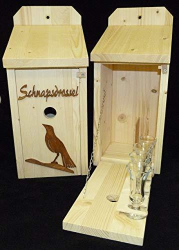 Vogelhaus Schnapsbar Garten Geschenk aus Holz Schnapsdrossel und Vogelmotiv