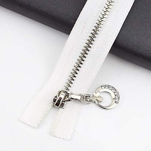 Meetee 2 / 5pc 3# Cierre de cremallera de metal 20 / 30cm Extremo abierto 40-70cm para bolsas de coser Cgarment Purse Cierre automático Zip Material de bricolaje-Blanco, 5pcs, Close-End-20cm
