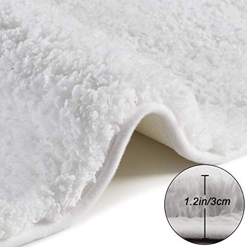 Seavish Luxury White Bath Rug, 2ft Shaggy Round Bathroom Rug,Non Slip Efficient Water Absorbent Machine Washable Tufted Bath Mat Microfiber Soft Thick Plush Circular Rug Floor Carpet