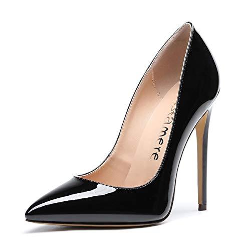 CASTAMERE Escarpins Femme Talon Fête Mariage Sexy Talon Haut Aiguille Bout Pointu High Heels Chaussures Stilettos Talons 12CM Vernis Noir Escarpin EU 45
