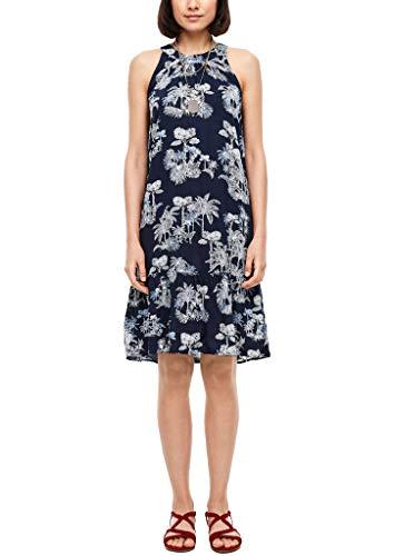 s.Oliver Damen Kleid kurz Dark Blue AOP Palm Trees 38