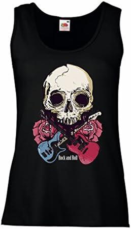 lepni.me Camisetas sin Mangas para Mujer Guitarras, Calavera, Rosas - Amantes del Concierto de Rock & Roll