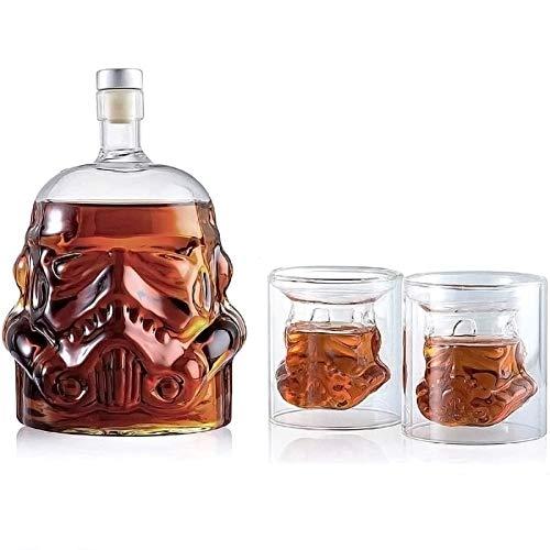 Star Wars Stormtrooper-Flasche, 750 ml, transparentes kreatives Whisky-Set mit 2 150 ml Gläsern, Whisky-Karaffe, destilliertes Wasserglas für Ihre Lieblingsgetränke und Likör