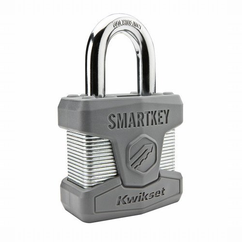 Kwikset 50MM SmartKey Padlock Standard Shackle in Satin Chrome