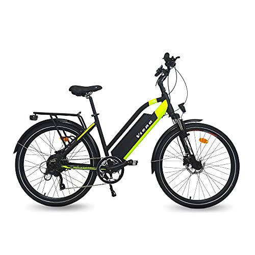URBANBIKER VIENA Trekking E-Bike, 350W Motor, 840Wh Akku, E-Trekkingbike für Damen und Herren, 26 Zoll Gelb