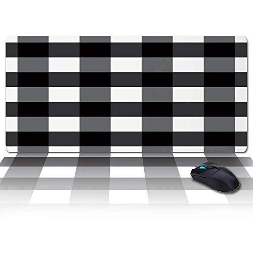 Große Gaming-Mauspad Full Desk Pad-Schwarz-Weiß-Buffalo-Plaid, rutschfeste Gummibasis Ergonomische XXL-Tastaturmatte für Laptop- / Computer- / Schreibtischzubehör