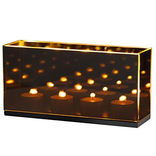 Tanness Infinity Tealight Candle Mirror Box | Decorative Reflectiv Optical Illusion Mirror | Dark Glass Magic Effect (4 Candle Holder)