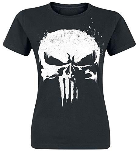 The Punisher Sprayed Skull Logo Frauen T-Shirt schwarz XL