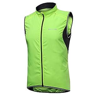 サイクリングジレ、トップ衣料用スポーツやアウトドアを実行メンズノースリーブジャージ軽量耐風通気性の高いVISベスト,グリーン,XXXL