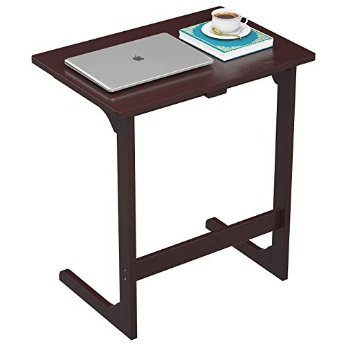Girapow C-Shaped Sofa Table, Bamboo Side End Table 7-Angle Adjustable Accent Laptop Coffee Snack Desk Slide Under Couch, Over Bed Table for Bedroom Living Room, Espresso