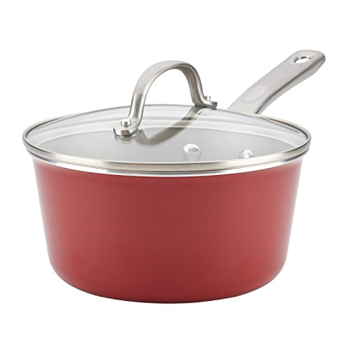 Ayesha Curry Home Collection Nonstick Sauce Pan/Saucepan with Lid, 3 Quart, Red
