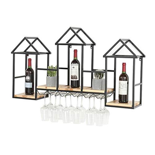 Botellero Europeo montado en la Pared de Madera Maciza Estante del Vino Restaurante Creativo gabinete del Vino Vino Titular de Vidrio en casa Estante Estante del Vino Vino Estante