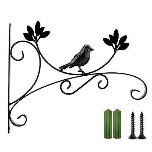 Brillie Wandbehang Korbhalter Pflanzenhaken Mehrzweck-Eisenhalterung für Garten Pflanzgefäß Blumenhänger Vogelhäuschen Zaun, Schwarz