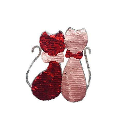 1PC gato reversibles parches de color Cambio de lentejuelas de ropa Parches cosen en lentejuelas Parches de bricolaje accesorios para la ropa