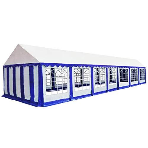 vidaXL Zeltstoff Dachplane Ersatzdach Ersatzplane Ersatzteile Seitenteile Seitenplane Dach für Pavillon Partyzelt Gartenzelt 6x14cm Blau Weiß