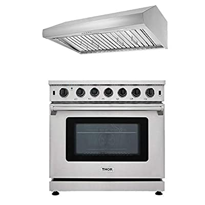 """Thor Kitchen 2-Piece 36 inch Freestanding Pro-Style Professional Gas Range with 6.0 cu.ft. Oven, 6 Burners & 36"""" Under Cabinet Range Hood with 900 CFM Push Control, Stainless Steel"""