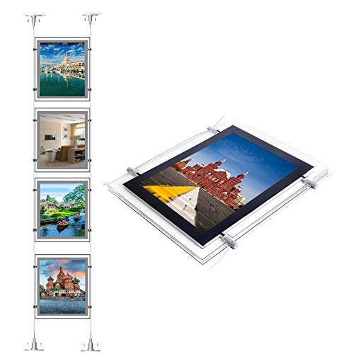 HKSign A4 Portrait Wall Arts Led Backlit Light Box Real Estate Window Display Sign Holder(4pcs A4 a Row, Vertically)