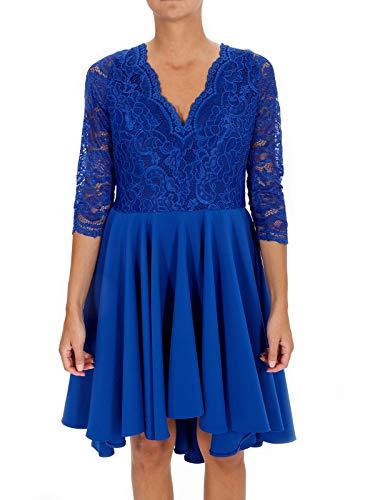 ARACNE Vestido de Fiesta asimétrico (Azul eléctrico, Large)