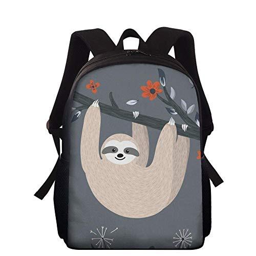 Backpack Mochila Escolar para Niños Sloth 3D Cartoon Anime Impreso Bolsas De Libros Adecuado para Niños De 5-14 Años J-15 Inches