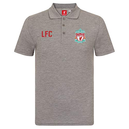 Liverpool FC Official Football Gift Mens Crest Polo Shirt Grey XL