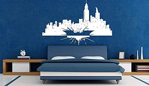 Batman Vinyl Sticker Mural Gotham Skyline Affiche...
