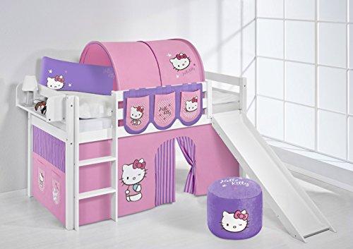 Lilokids Jelle Hello Kitty Lit Mezzanine en Bois avec Toboggan et Rideau Violet 208 x 98 x 113 cm