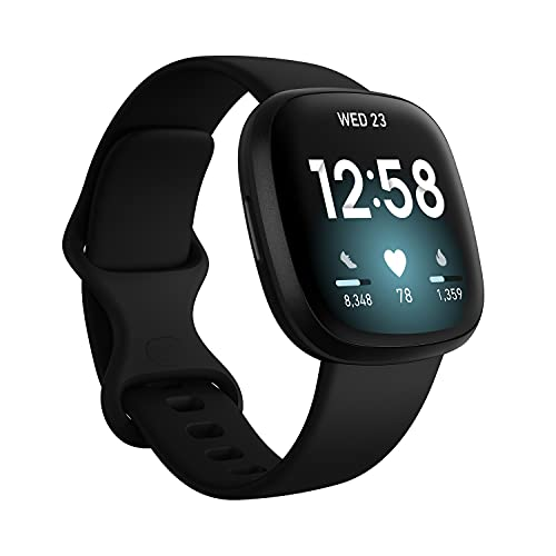 Fitbit Versa 3 Health & Fitness Smartwatch with GPS, 24/7 Heart Rate, Alexa Built-in, 6+ Days Battery, Black/Black Aluminum, One...