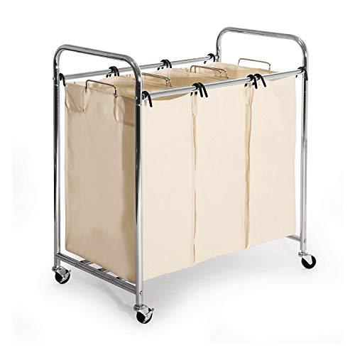 Seville Classics 3 Bag Chrome Laundry Sorter