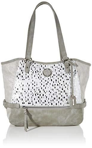 Rieker Damen Handtasche H1066, Mehrfarbig (Weiss-Silber/Cement), 280x130x400 cm