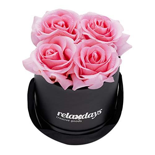 Relaxdays Rosenbox rund, 4 Rosen, stabile Flowerbox schwarz, 10 Jahre haltbar, Geschenkidee, dekorative Blumenbox, rosa