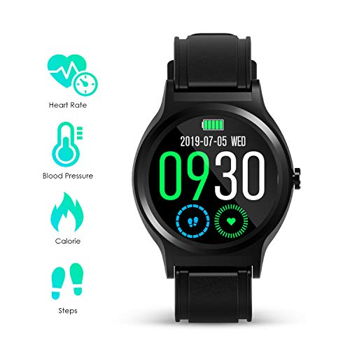 GOKOO Smart Watch for Men Activity Fitness Tracker with Heart Rate Blood Pressure Sleep Monitor Remote Camera Music Control Reminder Calorie Stopwatch Full-Touch Color Screen Smartwatch Black